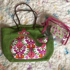 Vera Bradley Floral Whale Tote + Matching Case